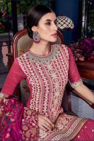 Pink Silk Semi Stitch Salwar Kameez