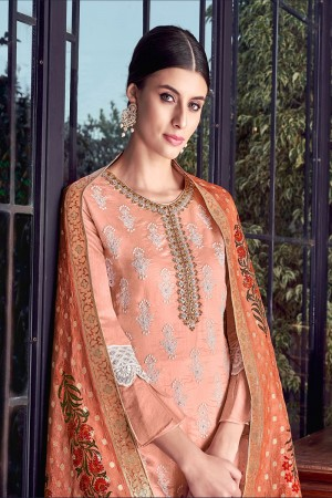 Salmon Silk Semi Stitch Salwar Kameez