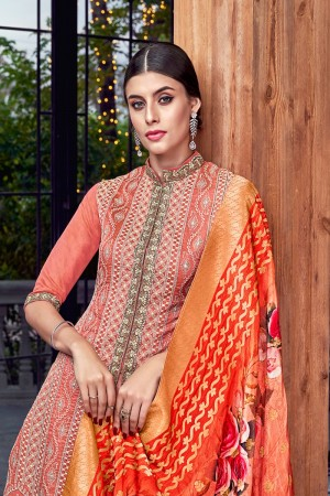 Coral  Silk Semi Stitch Salwar Kameez