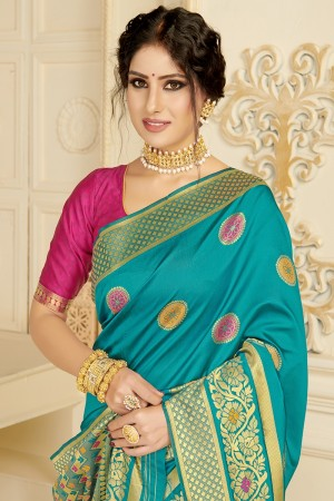 Sky Blue Silk Blend Saree with Blouse