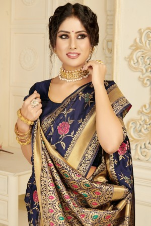 Navy Blue Silk Blend Saree with Blouse
