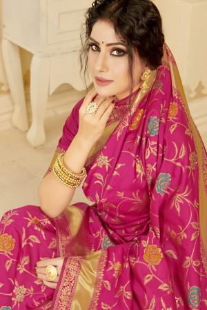Magenta Silk Blend Saree with Blouse