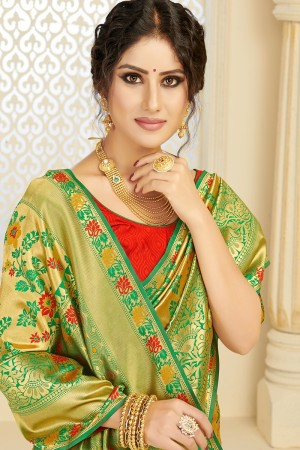 Green Silk Blend Saree with Blouse