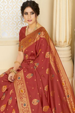 Maroon Silk Blend Saree with Blouse