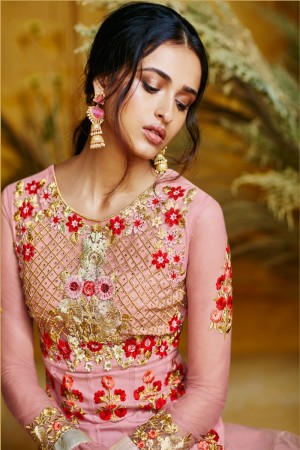Pink Butterfly Net Anarkali Suit