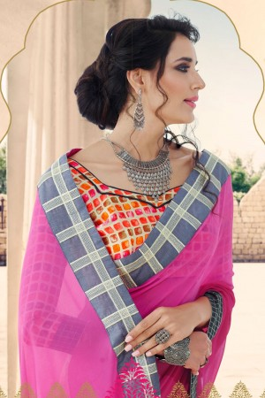 Pink & Cream Georgette Saree with Blouse