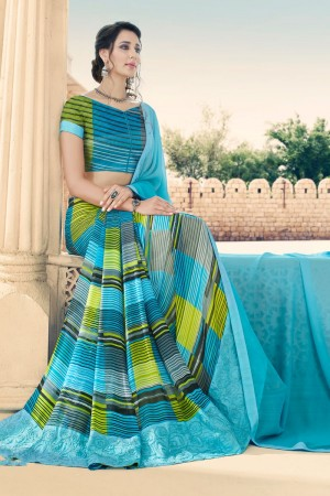 SkyBlue Georgette Saree with Blouse