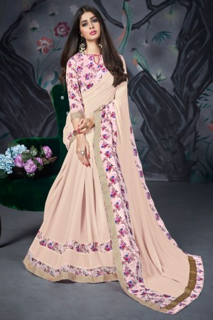 Cream Georgette & Chiffon Saree with Blouse