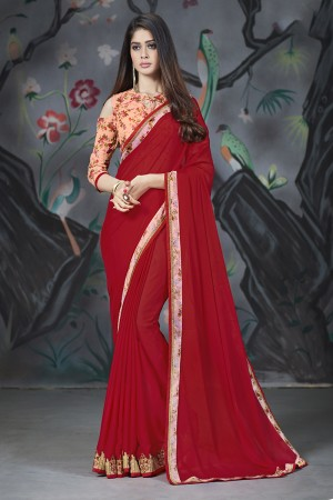 Red Georgette & Chiffon Saree with Blouse