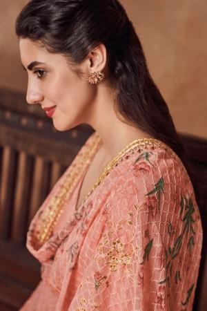 Peach Dola Silk Jacquard Salwar Kameez