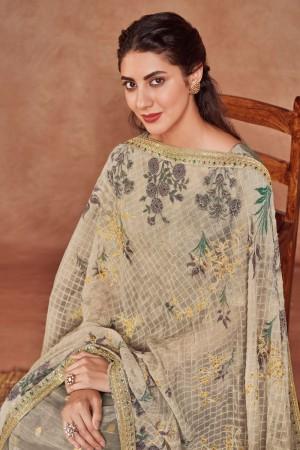 Beige Dola Silk Jacquard Salwar Kameez