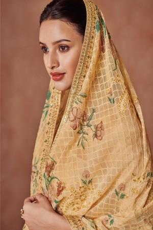 Yellow Dola Silk Jacquard Salwar Kameez