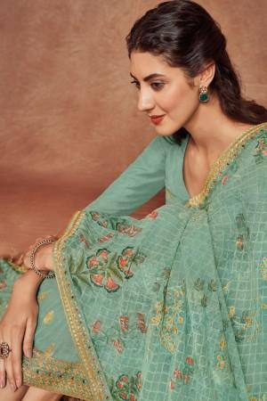 Teal Dola Silk Jacquard Salwar Kameez