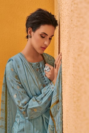 SkyBlue Dola Silk Jacquard Butti Patiyala Suit
