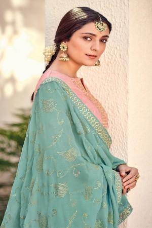 Pink Silk Banarasi Butti Plazo Suit