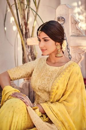 Beige Silk Banarasi Butti Plazo Suit