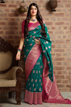 Ocean Banarasi Silk Saree with Blouse