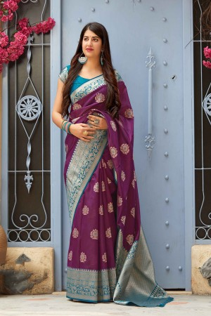 Purple Banarasi Silk Saree with Blouse