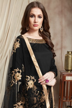 Black Tafetta Silk Patiyala Suit