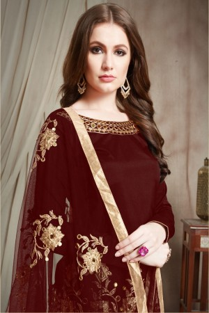 Brown Tafetta Silk Patiyala Suit