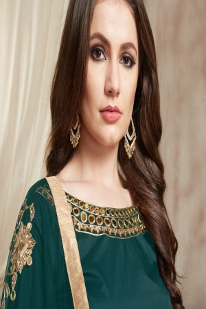 Teal Tafetta Silk Patiyala Suit