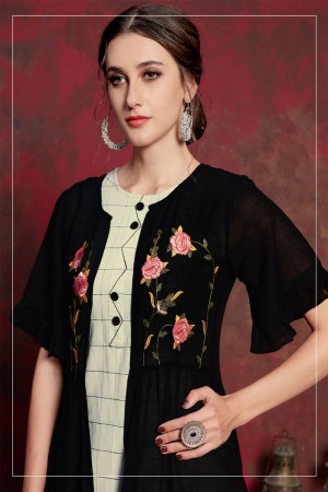 Black & Cream Pure muslin & Mulayam fancy Fabric Kurti with Shrug