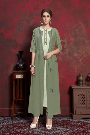 Mehendi Pure muslin & Mulayam fancy Fabric Kurti with Shrug