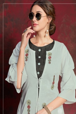 Grey & Black Pure muslin & Mulayam fancy Fabric Kurti with Shrug