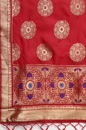 Red Banarasi Silk Dupatta