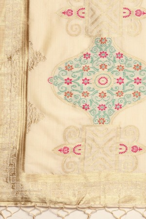 Cream Banarasi Silk Dupatta