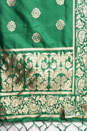 Green Banarasi Silk Dupatta