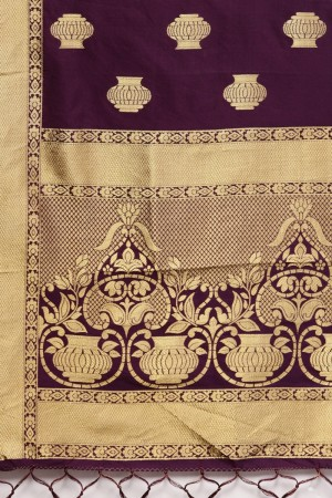 Purple Banarasi Silk Dupatta