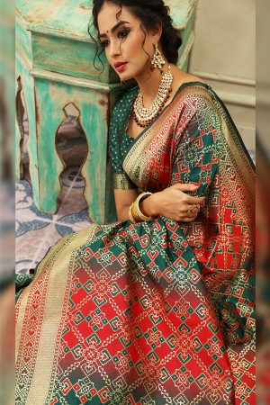 Green Banarasi Silk Saree with Blouse