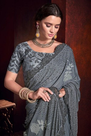 Grey Imported Saree with Blouse