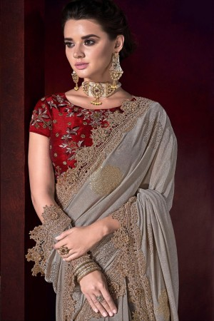 Light Brown Korean Saree with Blouse