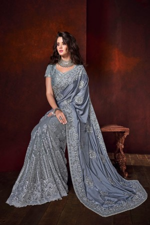 Grey Satin Saree with Blouse