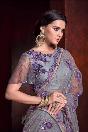 Purple Net Saree with Blouse