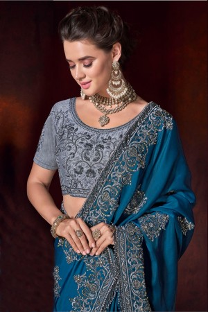 Blue Satin Saree with Blouse