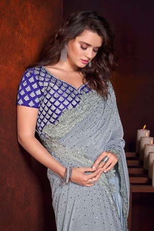 Grey Imported&Net Saree with Blouse