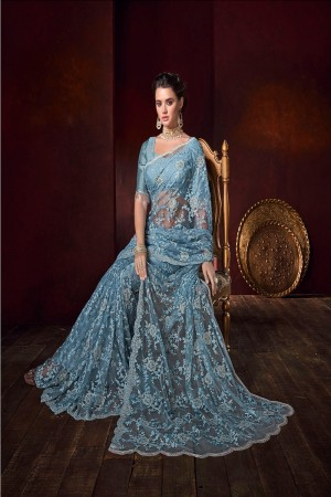 BlueishGrey Net Saree with Blouse