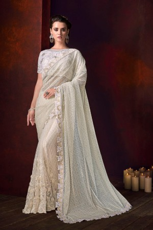 White Net Saree with Blouse