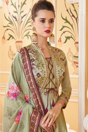 Mehendi Soft Silk Salwar Kameez
