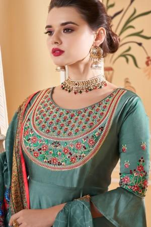 Teal Soft Silk Salwar Kameez