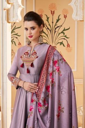 Lavender Soft Silk Salwar Kameez
