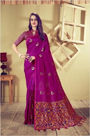 Rani Pink Top Dyed Silk Saree with Blouse