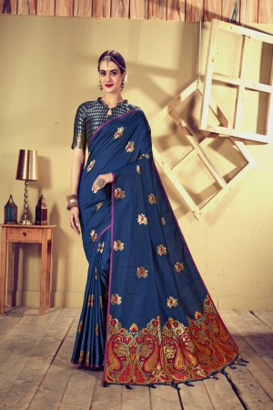 Dark Blue Top Dyed Silk Saree with Blouse