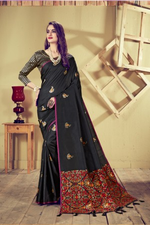 Black Top Dyed Silk Saree with Blouse