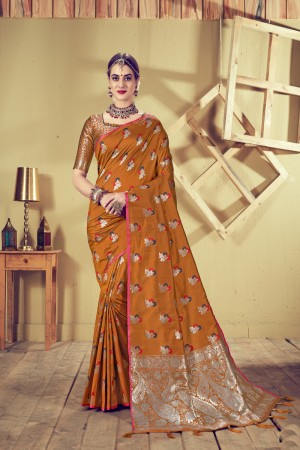 Musturd Top Dyed Silk Saree with Blouse