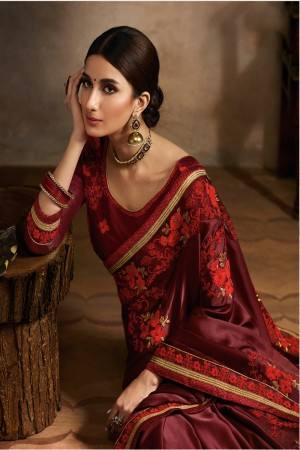 Maroon Satin Saree with Blouse