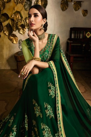 Bottel Green Rangoli Saree with Blouse